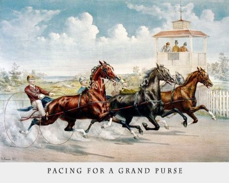 Fine art Horseracing Print of the 1800's Racing and Trotting of Pacing for a Grand Purse